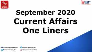 Current Affairs One Liner September 2020
