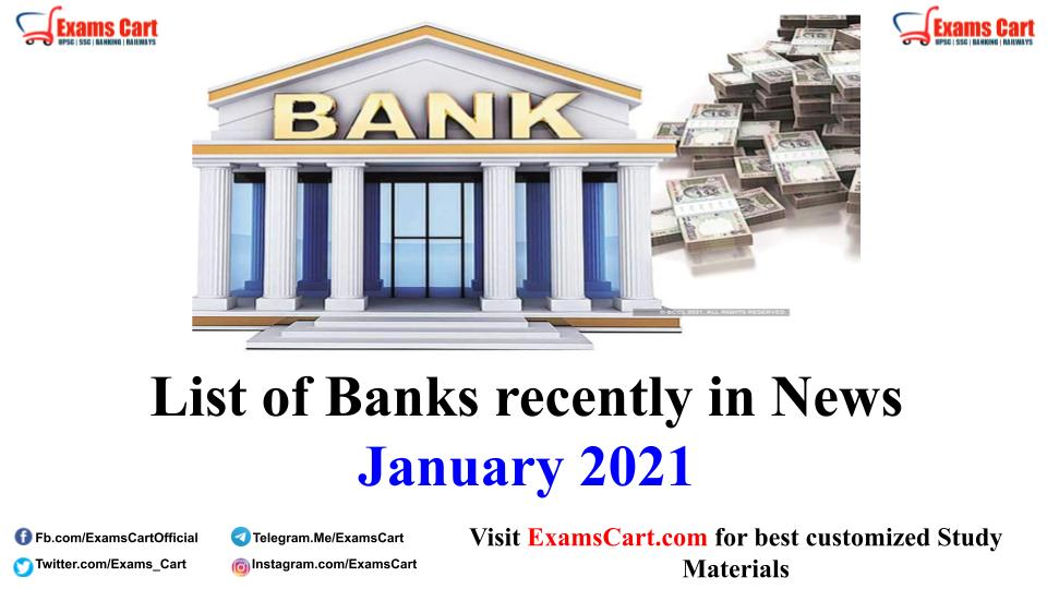 List of Banks recently in News